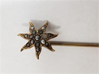 10-12k Gold Victorian Era Pearl Jewelry Hat Pin