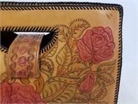 Vintage Handmade Leather Flower Purse