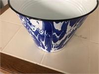 Enamel Bluse Splatterware Bucket / Pail