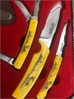 New 3pc Old Timer Scrimshaw Knife Set in Tin