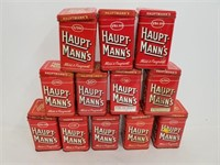 12 Haupt Mann's Fragrant Tin Cans With Lids