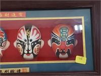Oriental Asian Mini Opera Masks In Shadow Box