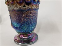 Signed Black Amethyst Peacock Carnival Glass