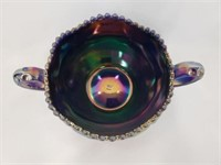 Black Amethyst Carnival Glass Bowl