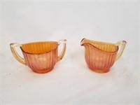 Orange Carnival Glass Cream And Sugar Bowls