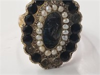 Victorian 10-12k Gold Ring W/ Pearls 5.1 Grams