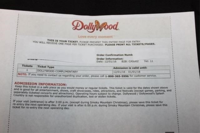 2 Dollywood Tickets | Hudgins Auctions & Realty