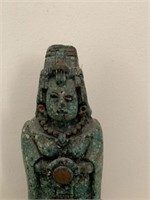 Green Stone and Wooden Mayan Statue