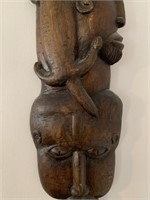 Hand Carved Wooden Wall Mount Figure