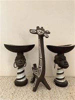 Porcelain African Candle Sconces and Giraffe