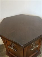 Mid Century Drum Table with Storage