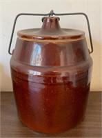 Stoneware  Bean Crock with Wire Sealer Top