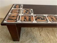 Custom Made Tile Inlayed Teak Coffee Table