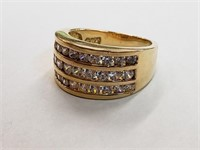 .925 Sterling Silver Gold Plated Ring Size 8