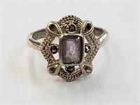 .925 Sterling Silver EDCO Ring w/ Purple Stone Sz5