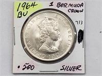 BU 1964 1 Bermuda Crown .500 Silver Coin