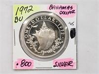 BU 1972 Bahamas Dollar .800 Silver Coin