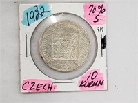 1932 Czech 10 Korun 70% Silver Coin
