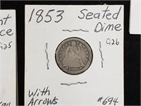 1853 Seated Dime With Arrows Coin