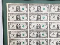 32 Uncut 1988 $1 Bills Framed
