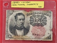 RARE 1849 .10 Cent Fractional Currency Note