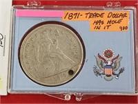 1871 Trade Dollar W/ Hole