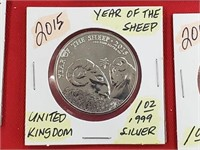 2015 Year of the Sheep 1 oz .999 Silver Round