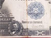 1899 Black Eagle $1 Silver Certificate Note W Tear