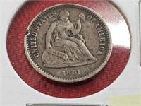 RARE 1861 Seated Half Dime