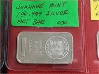 Sunshine Mint 1 oz .999 Silver Art Bar Bullion