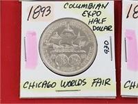 1893 Columbian Expo Chicago Worlds Fair Half