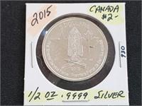 2015 Canada $2 1/2 oz .999 Silver Round