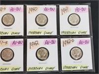 (8) 1940-1942 90% Silver AU-BU Mercury Dimes