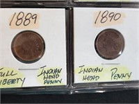 (8) 1882-1890 Indian Head Penny Cents