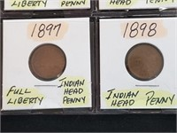 (8) 1891-1898 Indian Head Penny Cents