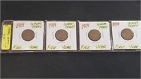 (4) 1909 FIRST YEAR Wheat Pennies Cents