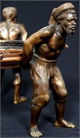 Blackamore Bronze & Intaglio Cut Glass Centerpiece
