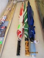 Umbrellas, American Flags, Bamboo Torches