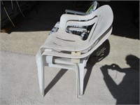 Folding Chair and 2) Patio Chairs