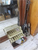 Fishing Poles With Reels, Tackle Box