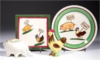 """Quirky designs and figures featuring """"HAM"""" and """"EGGS"""" appropriately labeled over a pig and chicken, made at the Blue Ridge Pottery/Southern Potteries. From an Arizona private collection."""