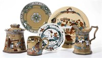 Deldare Ware by Buffalo Pottery, including Emerald designs, The Hunt Supper, Ye Lion Inn, and Dr. Syntax. From the collection of the late Phillip M. Sullivan.