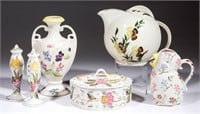Brightly hand-painted forms made at the Blue Ridge Pottery/Southern Potteries. From an Arizona private collection.