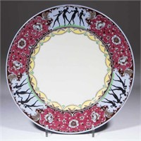 """Buffalo China sample plate with silhouettes of female dancers on the edge over """"LUNE LAMELLE"""" ground, possibly made for the National Vaudeville Artists Club. From the collection of the late Phillip M. Sullivan."""
