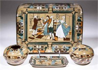 Deldare Ware dresser set by Buffalo Pottery. From the collection of the late Phillip M. Sullivan.