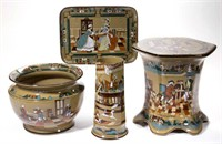 """Deldare Ware by Buffalo Pottery, including examples published in Seymour and Violet Altman's """"Book of Buffalo Pottery"""". From the collection of the late Phillip M. Sullivan. The Deldare Ware will also include a Maryland private collection."""