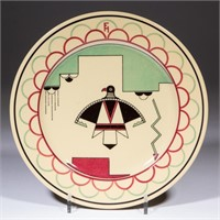 """Likely sample plate possibly made for the Fred Harvey enterprise by Buffalo China for advertising with the """"Thunderbird"""" logo. From the collection of the late Phillip M. Sullivan."""