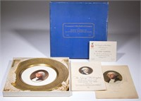 """1932 Buffalo China plate made for the Chesapeake and Ohio Railroad """"George Washington"""" train and original ephemera including a menu and inaugural opening invitation. From the collection of the late Phillip M. Sullivan."""
