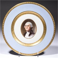 """1932 Buffalo China plate made for the Chesapeake and Ohio Railroad """"George Washington"""" train. From the collection of the late Phillip M. Sullivan."""