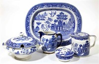 Large collection of the Blue Willow pattern made by Buffalo Pottery. From the collection of the late Phillip M. Sullivan.